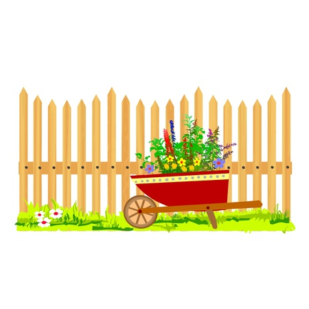 wooden fence and wheelbarrow garden - vector Stock Vector - 13427227
