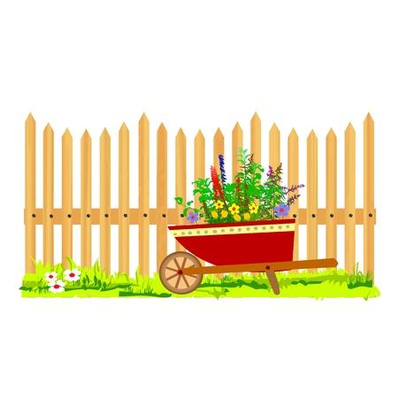 wooden fence and wheelbarrow garden - vector Stock Vector - 13427227