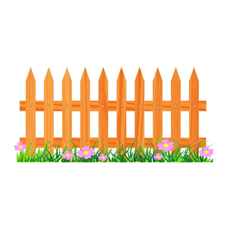 wooden fence with grass and flowers - vector Stock Vector - 13427359
