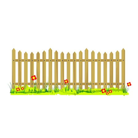 wooden fence with grass and flowers - vector Stock Vector - 13427360