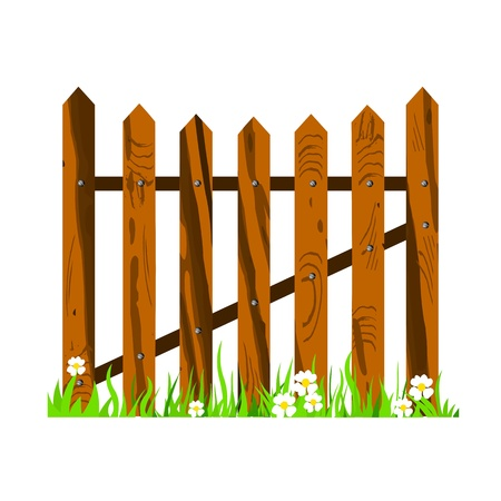 fence park: wooden fence with grass and flowers - vector