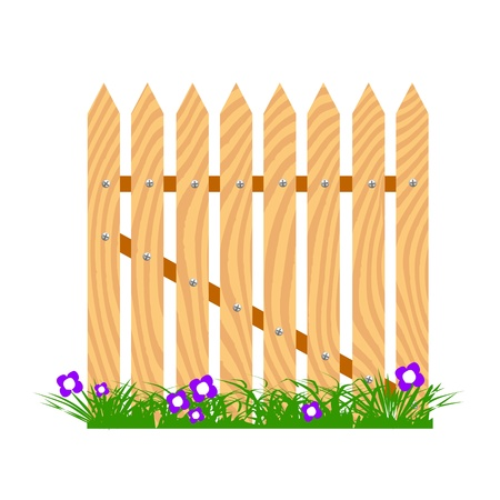 wooden fence with grass and flowers - vector Stock Vector - 13427358