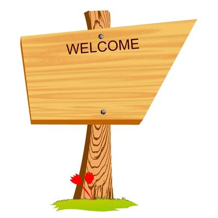 welcome desk: wooden billboard - vector Illustration