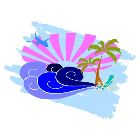 breezy: sun, palms and surfing waves - vector