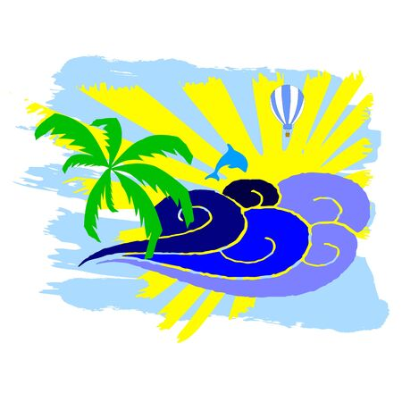 breezy: sun, palm and surfing waves - vector Illustration