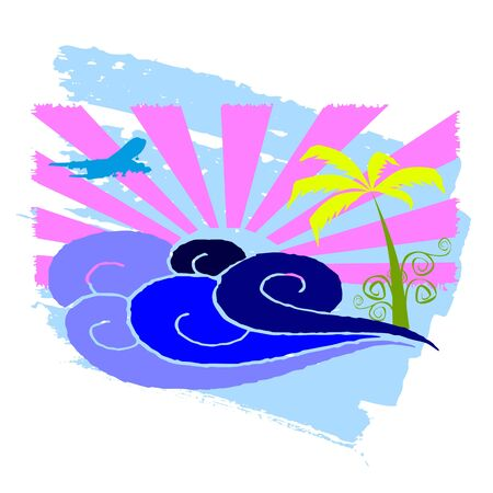 sun, palms and surfing waves - vector Stock Vector - 13427357