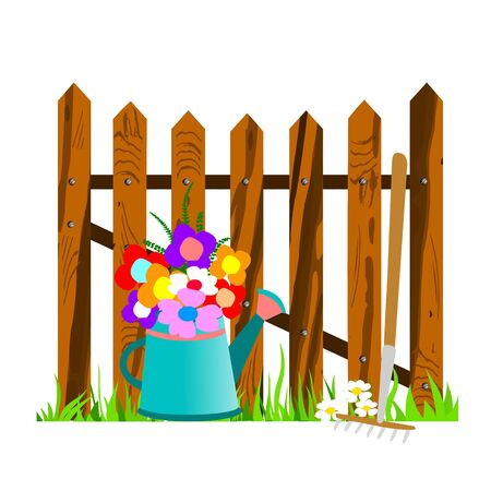 wooden fence and watering can - vector Stock Vector - 13494290