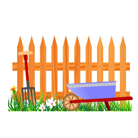 wooden fence and wheelbarrow garden - vector Stock Vector - 13494285