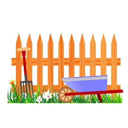 wooden fence and wheelbarrow garden - vector Vector