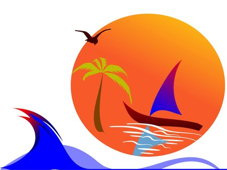 sun, palm and surfing waves - vector  Vector