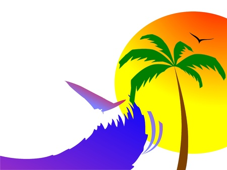 sun, palm and surfing waves - vector  Stock Vector - 13494271