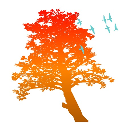 autumn tree and birds - vector Stock Vector - 13494395