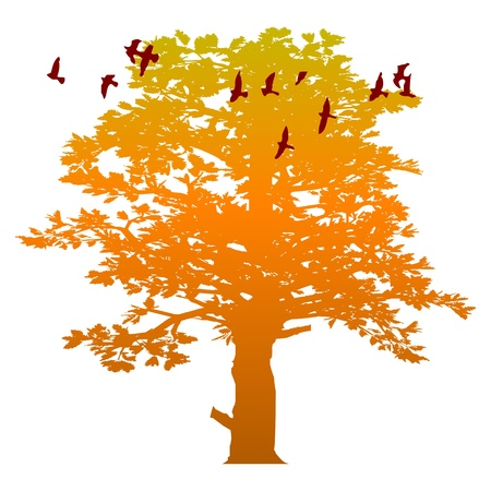 autumn tree and birds - vector Stock Vector - 13494453