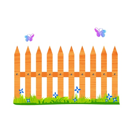 wooden fence with flowers and butterflies - vector Vector