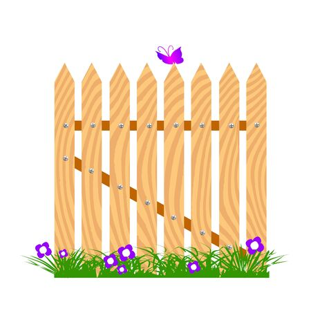 wooden fence with flowers and butterfly - vector Vector