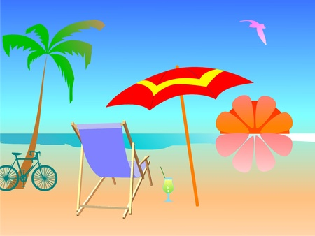 Summer beach scene - vector Stock Vector - 13494870