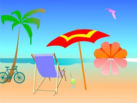 Summer beach scene - vector Stock Vector - 13494870