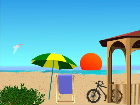 breezy: Summer beach scene - vector Illustration