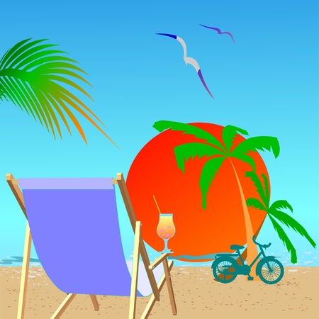 Summer beach scene - vector Stock Vector - 13494919