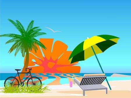cocktail umbrella: Summer beach scene - vector Illustration