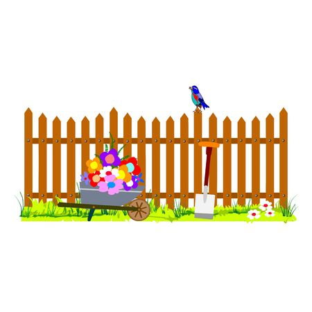 wooden fence and wheelbarrow garden - vector Stock Vector - 13494871