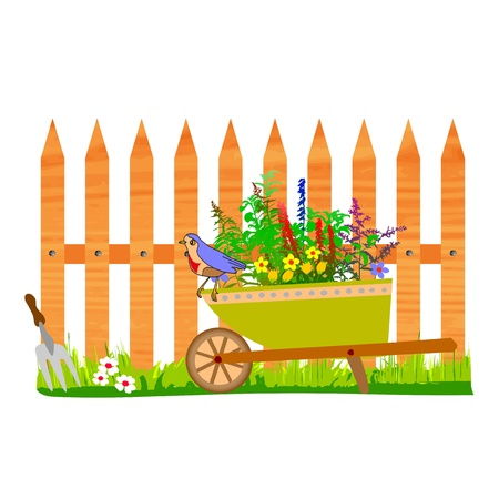 wooden fence and wheelbarrow garden - vector Stock Vector - 13494956