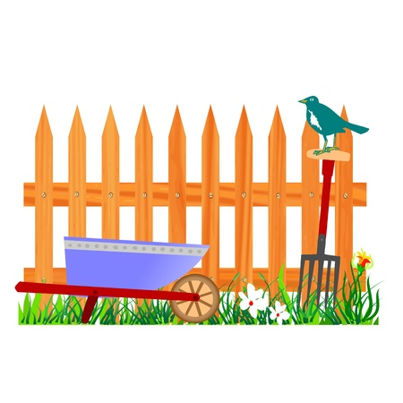 wooden fence and wheelbarrow garden - vector Stock Vector - 13494803