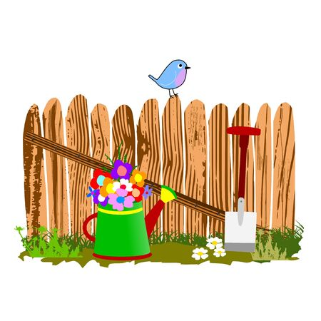 wooden fence and watering can - vector Stock Vector - 13494922
