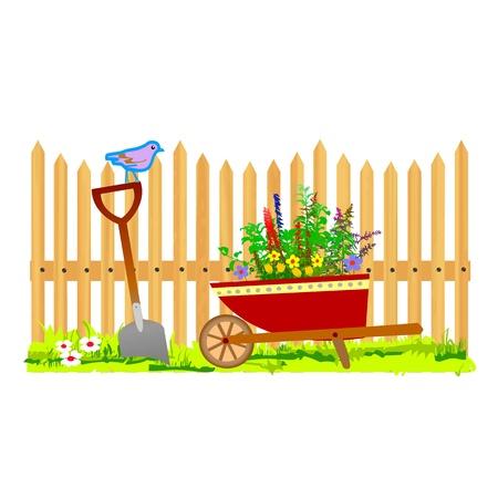valla jardin valla de madera y jardn carretilla vector vectores