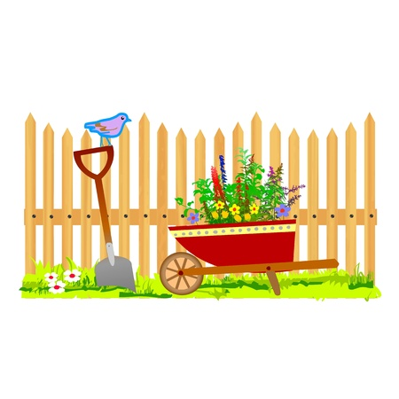 wooden fence and wheelbarrow garden - vector Stock Vector - 13494950
