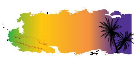 шероховатый цвета баннер с пальмами и клякс - вектор Иллюстрация