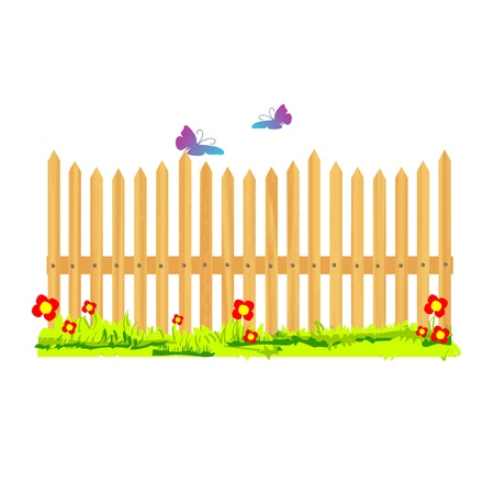 fence park: wooden fence with flowers and butterflies - vector
