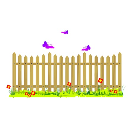 wooden fence with flowers and butterflies - vector Stock Vector - 13494809