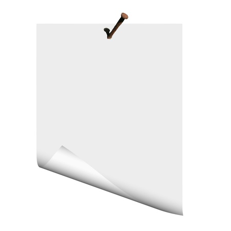 Blank paper on the nail - vector Illustration