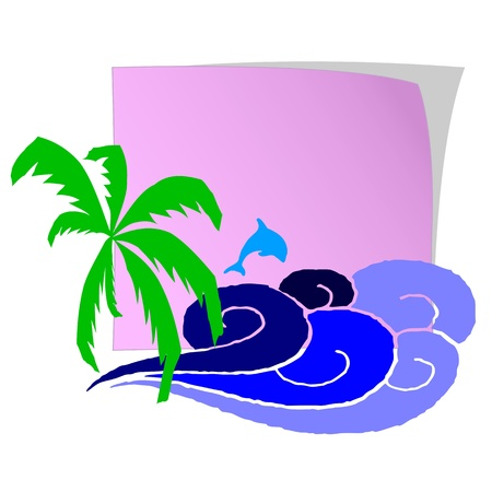 breezy: Blank paper, palm and surfing waves - vector Illustration