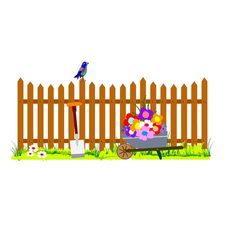 garden design: wooden fence and wheelbarrow garden - vector