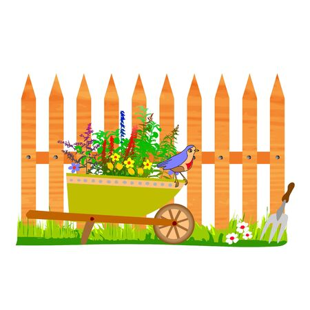 wooden fence and wheelbarrow garden - vector Stock Vector - 13495318