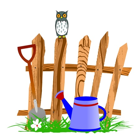 wooden fence and watering can - vector Stock Vector - 13495212