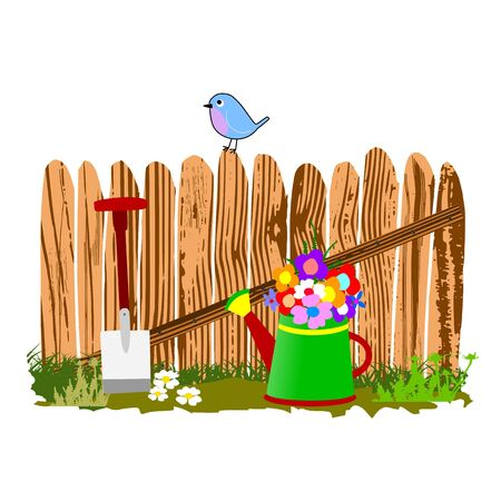 wooden fence and watering can - vector Stock Vector - 13495274