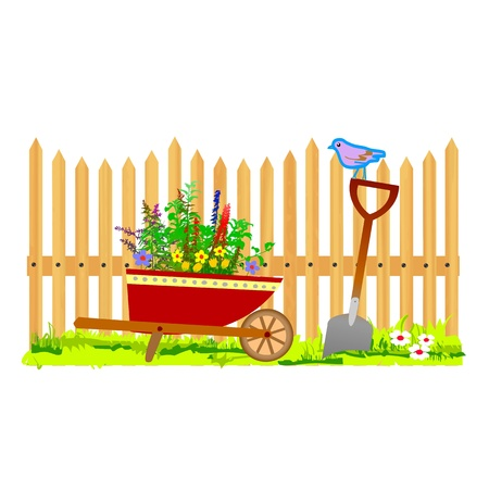 wooden fence and wheelbarrow garden - vector Stock Vector - 13495315