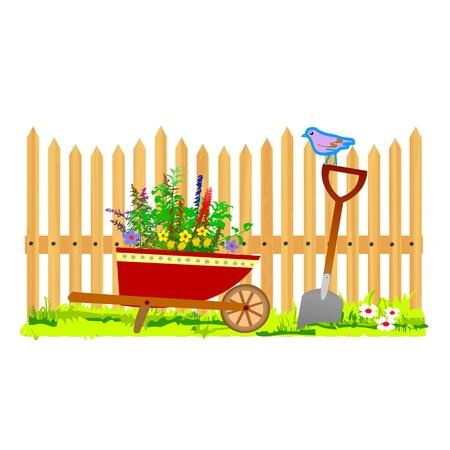 wooden fence and wheelbarrow garden - vector Stock Vector - 13495315