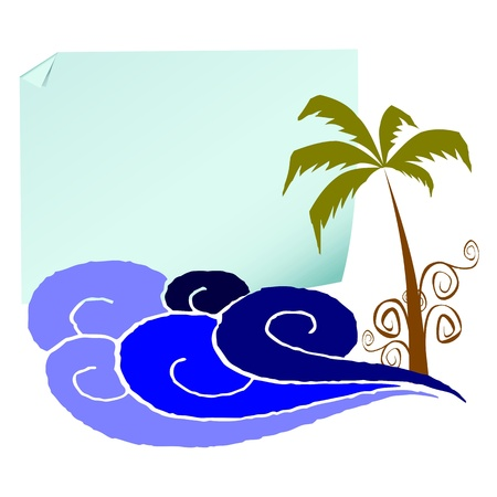 Blank paper, palm and surfing waves - vector Stock Vector - 13495041