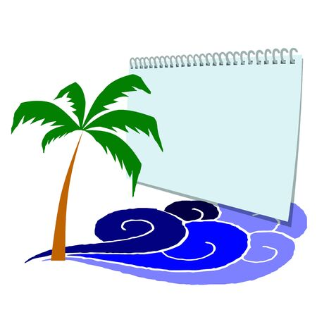 Blank paper, palm and surfing waves - vector Vector