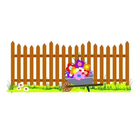 wooden fence and wheelbarrow garden - vector Stock Vector - 13495197