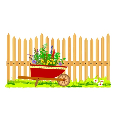 wooden fence and wheelbarrow garden - vector Stock Vector - 13495311