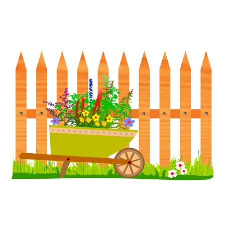 wooden fence and wheelbarrow garden - vector Stock Vector - 13495313