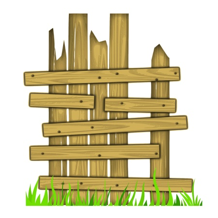 fence park: old wooden fence on grass - vector