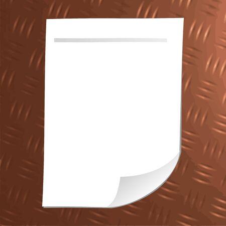 Чистый лист бумаги на металлической пластине - вектор Иллюстрация