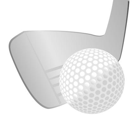 golf stick: palo de golf y la pelota aislados sobre fondo blanco - vector