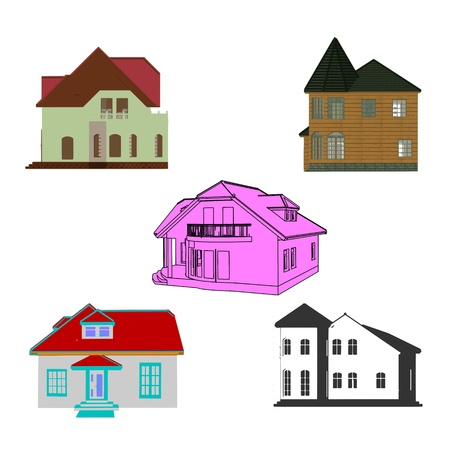 Set of cottages for design Stock Vector - 13715933